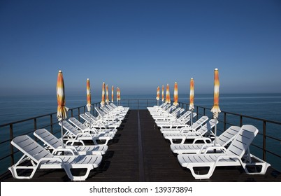 Sun beds seen at a beach in the Black sea in Sochi