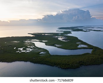 The sun begins to set over mangrove islands on the edge of Turneffe Atoll in Belize. The area supports a wide variety of marine life and mangroves serve as nurseries for fish and invertebrates.
