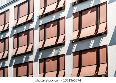 sun blinds on building facade , modern sunshades / awnings