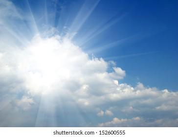 sun in the blue sky