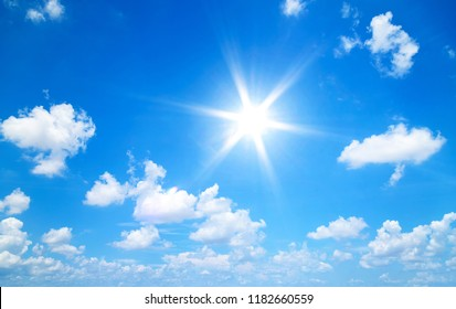 Sun in blue sky with clouds