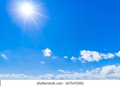 Sun and blue sky in spring