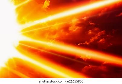 Sun bright with sun ray in dark red sky