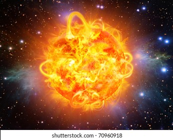 sun burning - surface solar explosion illustration