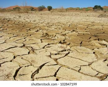 Sun burnt land in Sossusvlei, Namib-Naukluft National Park of Namibia