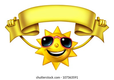 Sun character holding a blank banner sign ribbon for hot seasonal fun advertising and presentation and a symbol of vacation and relaxation under with sunny weather isolated on white.