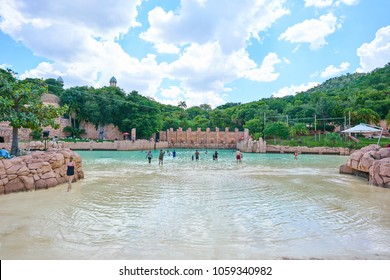 Sun City, South Africa - 03.13.2018: People at the pool at Valley of Waves water park