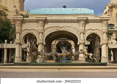 SUN CITY, SOUTH AFRICA - APRIL 21, 2010 :  Lost City or Sun City is a Luxury Hotel with a grand entrance and luxury palace of the Lost City in Sun City, South Africa.