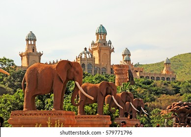 SUN CITY, SOUTH AFRICA - JANUARY 03, 2008: Gigantic elephant statues on Bridge of Time in famous resort Lost City in Sun City, South Africa.