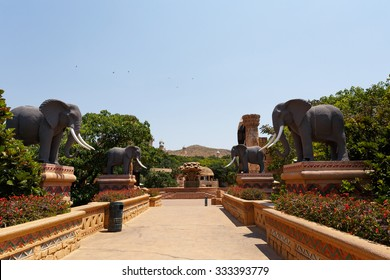 SUN CITY, SOUTH AFRICA - OCTOBER 29: Gigantic elephant statues on fluttering Bridge of Time in famous resort on 29 October in Sun City, South Africa