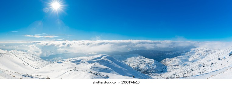 Sun And Clouds Over Mount Hermon,  Winter in Israel - Sunny Day At Mount Hermon