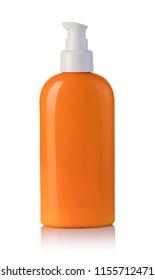 Sun cream bottle isolated on white background