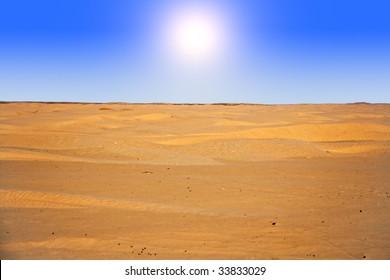 sun in desert