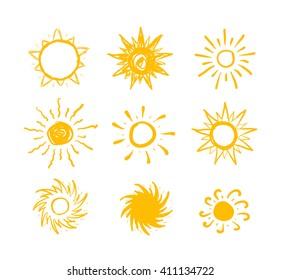 Sun drawn icons set on white background