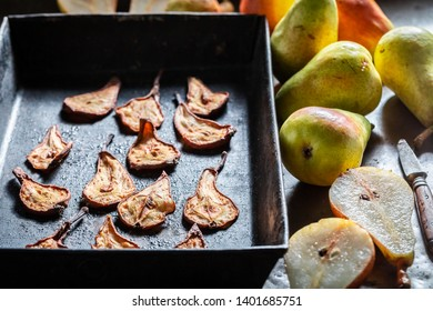 Sun dried fresh pears on baking tray