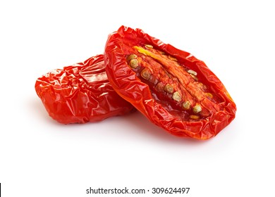 Sun dried tomatoes isolated on white with smooth shadow. Infinite depth of field