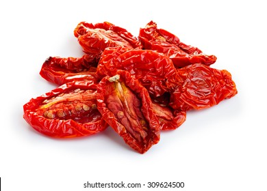 Sun dried tomatoes isolated on white with smooth shadow. Large depth of field