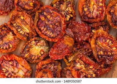 Sun dryed tomatoes/ Macro image.