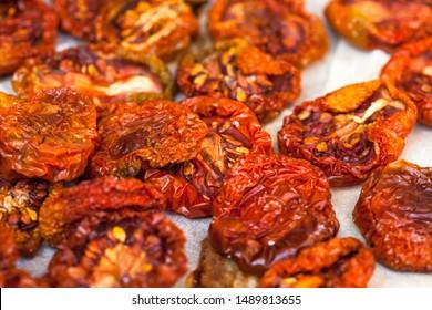 Sun dryed tomatoes. Macro image.