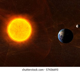 Sun with Earth and Moon