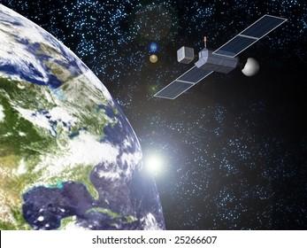 sun earth and satellite
