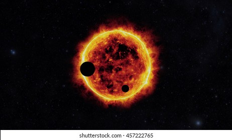 sun with exoplanets, in other galaxy, fantasy
