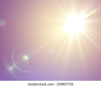 Sun flare in vintage retro style