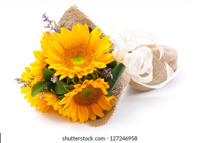 sun flower bouquet on white background