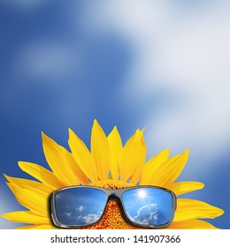 Sun flower wearing sunglasses against blue sky