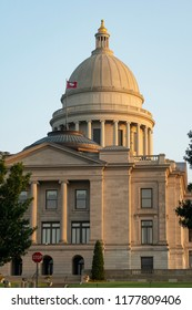 The sun gets low in the sky at the State Capitol in downtown Little Rock, AK