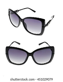 sun glasses set isolated over the white background, from different sides.