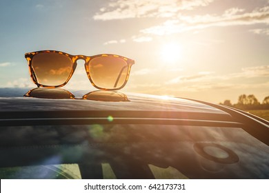 Sun glasses at sunset