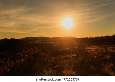 The sun gleaming over the landscape at the Wichita Mountains National Wildlife Refuge located in Indiahoma, Oklahoma