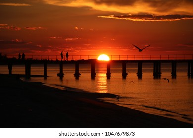 Sun going down in Dromana over Port Phillip Bay