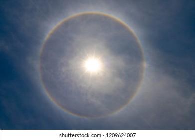 Sun Halo, Natural phenomenon, Rainbow circle around the sun.