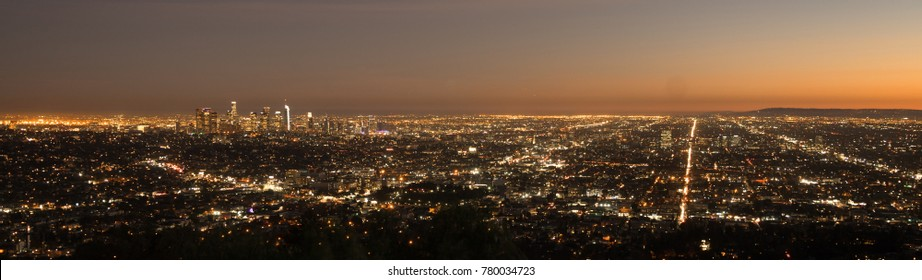 The sun has already set in this aerial view of the city skyline Los Angeles