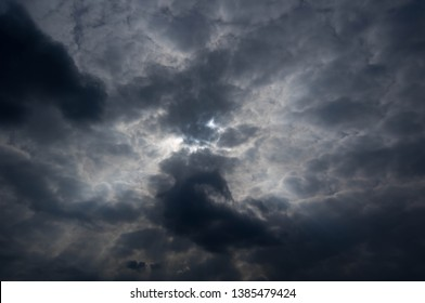 The sun hiding behind the clouds