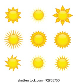 Sun icons. Vector available.