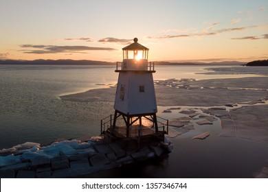 Sun illuminates the lighthouse found in Burlington, Vermont
