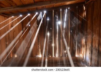 Sun light in dusty shed