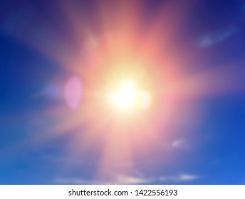 Sun light with flare on blue sky background
