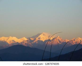 sun light on Kanchenjunga