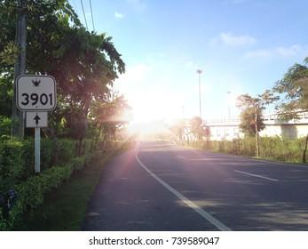 Sun light on the road
