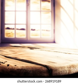 sun light in window and dirty old table of free space
