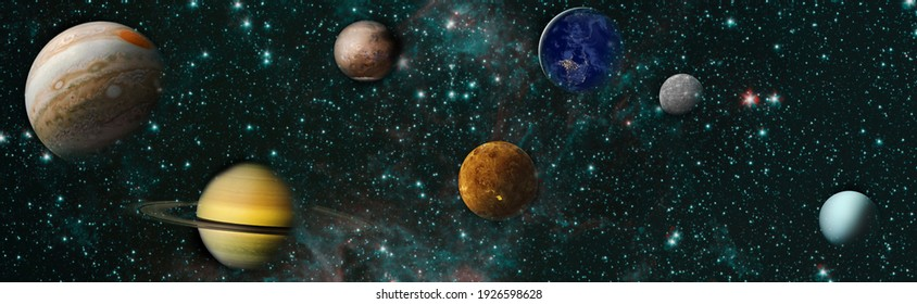 Sun, mercury, Venus, planet earth, Mars, Jupiter, Saturn, Uranus, Neptune. Solar system planet, comet, sun and star. Elements of this image furnished by NASA.
