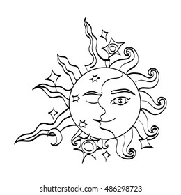 Sun and moon with faces. Romantic magic symbol feminine and masculine. Doodle cartoon black and white art. Hand drawn alchemy sign. Raster illustration.