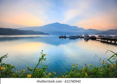 Sun Moon Lake before sunrise ,Taiwan.