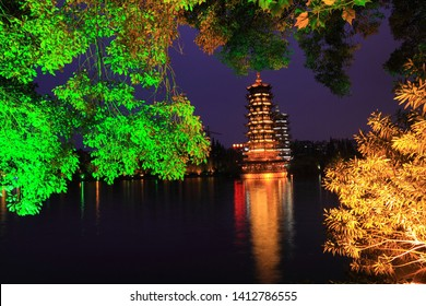 The sun moon tower night lights of Guilin in the lake reflection of Guangxi,China
