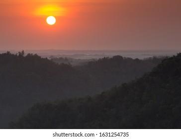 Sun and Mountain Range in Kulonprogo, Yogyakarta