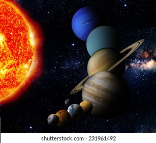 The sun and nine planets of our system orbiting Elements of this image furnished by NASA